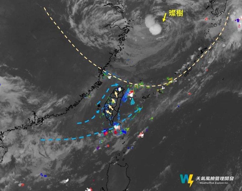 「天氣風險 WeatherRisk」指出,圖上虛線所示,是有點類似西風槽的結構,有些微弱的北風來到北部。圖/擷取自「天氣風險 WeatherRisk」臉書