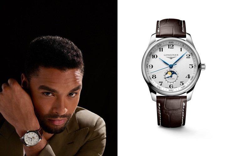 Regé-Jean Page在最新浪琴表宣傳視覺中,戴上一款巨擘系列月相腕表,一...