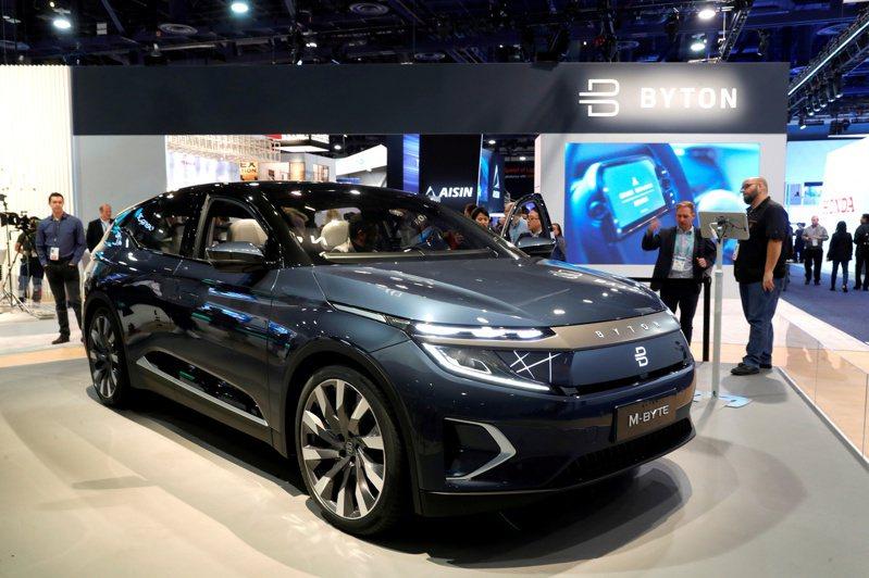 圖為拜騰在2020年拉斯維加斯美國消費性電子大展(CES)展示的M-Byte電動休閒車。路透