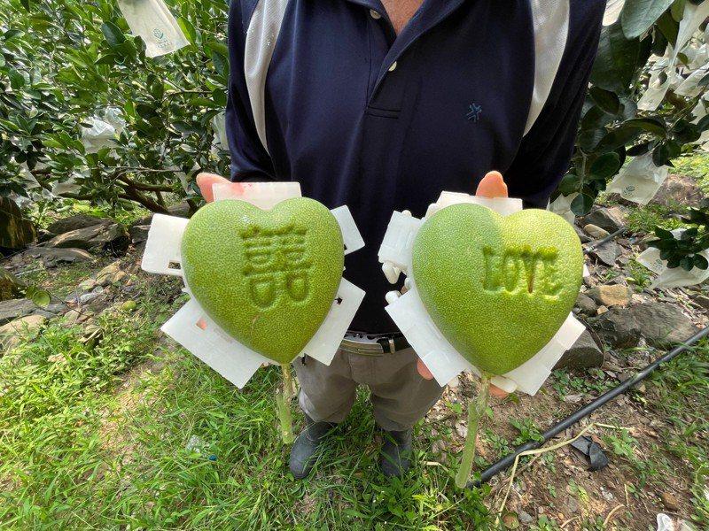 心型柚先前在七夕情人節推出,主打用心型柚傳達情意。圖/新北農業局提供