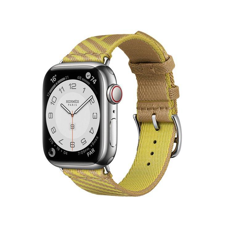 第七代Apple Watch Hermès Jumping圖紋印花系列牛皮紙色與...