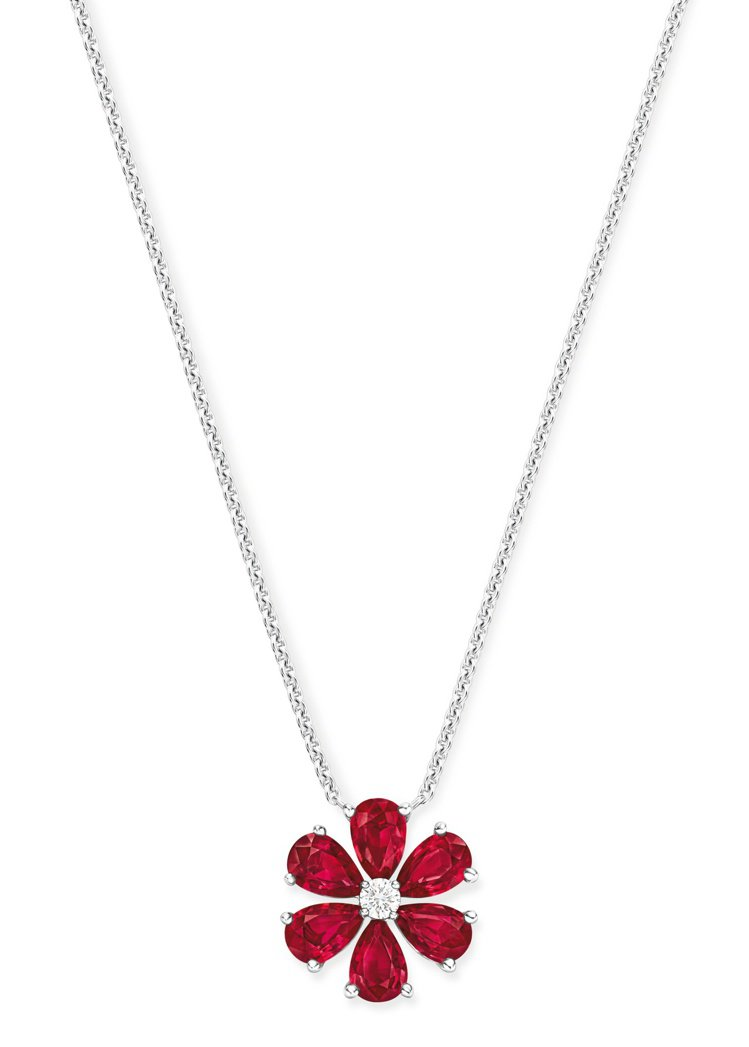 海瑞溫斯頓Forget-Me-Not系列紅寶石鑽石項鍊,鑲嵌1顆圓形明亮式切工鑽...