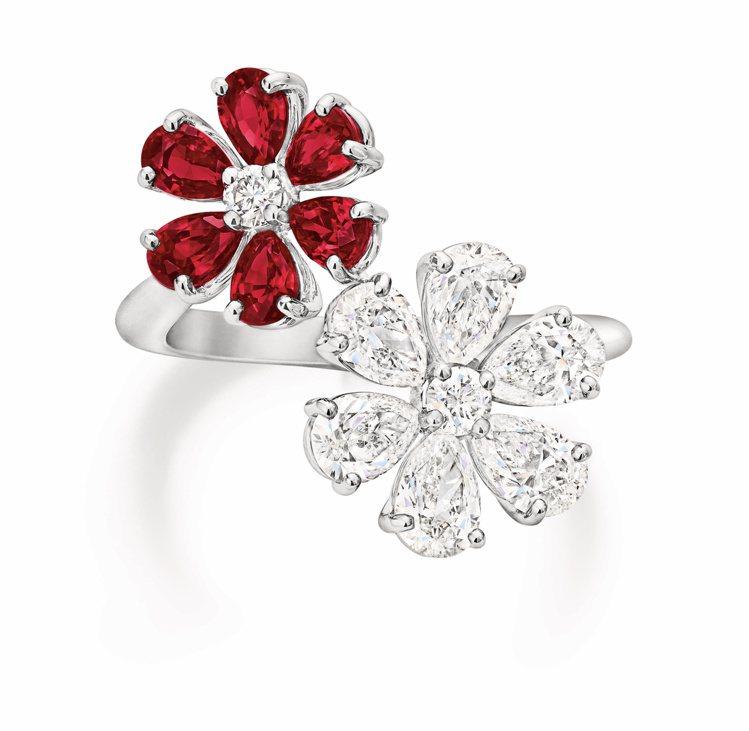 海瑞溫斯頓Forget-Me-Not系列紅寶石鑽石戒指,鑲嵌2顆圓形明亮式切工鑽...