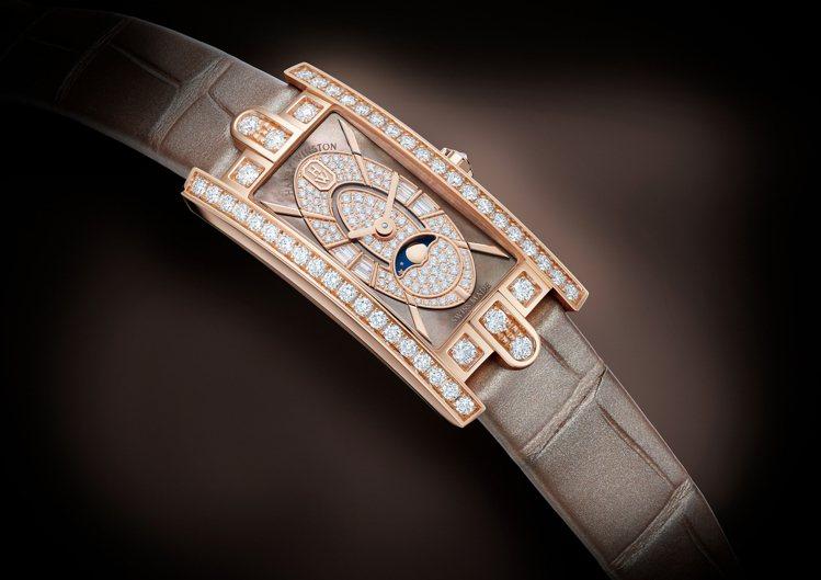 海瑞溫斯頓第五大道Avenue C™系列迷你月相腕表,共鑲嵌149顆圓形明亮式切...