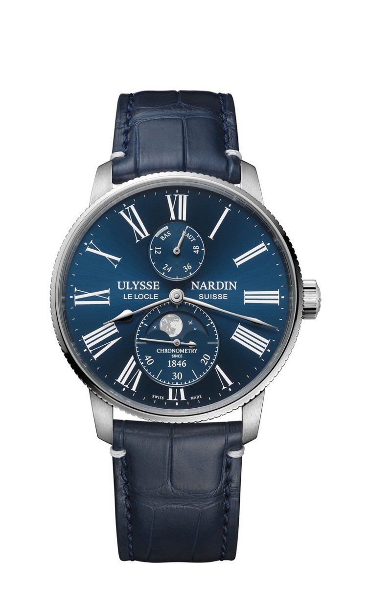 Ulysse Nardin航海系列領航者月相腕表,精鋼、品牌自製UN-119自動...
