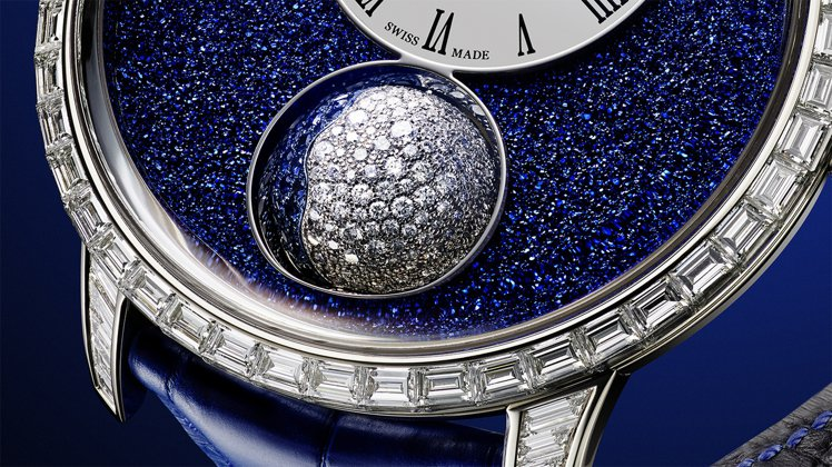 Arnold & Son的Luna Magna系列以白金鑲嵌鑽石、藍寶石...