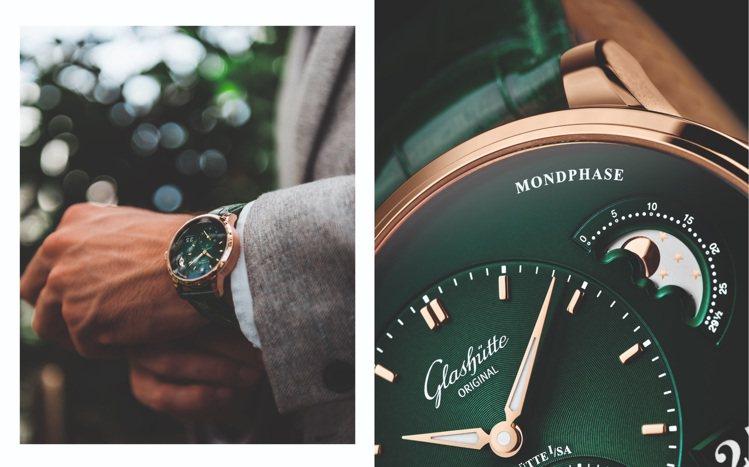 紅金表殼配綠色面盤,讓格拉蘇蒂原創的紅金森林綠款偏心月相腕表,在色彩上大膽突破,...