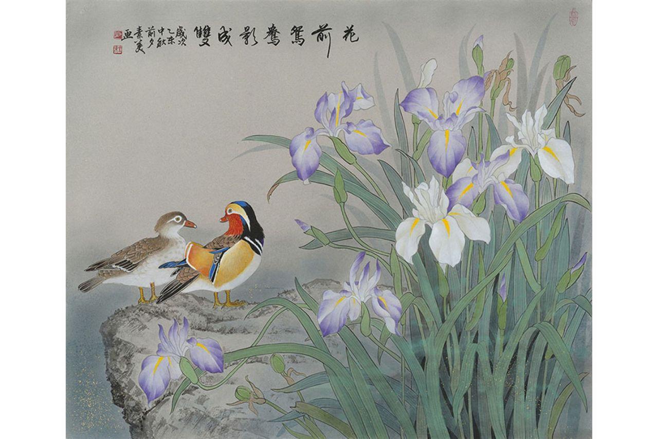 邱素美工筆畫作品《花前鴛鴦影成雙》,紙,60x72cm。 圖/邱素美