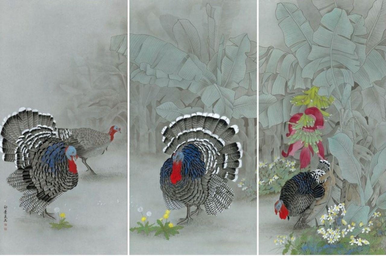 邱素美工筆畫作品《鄉間清趣》,第10-12張作品,單張尺寸136cmx68cm。...