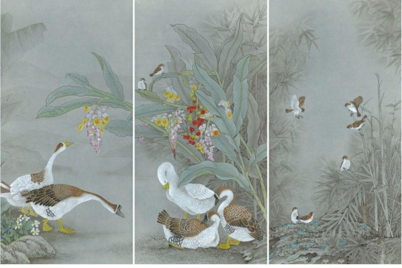 邱素美工筆畫作品《鄉間清趣》,第7-9張作品,單張尺寸136cmx68cm。 圖...