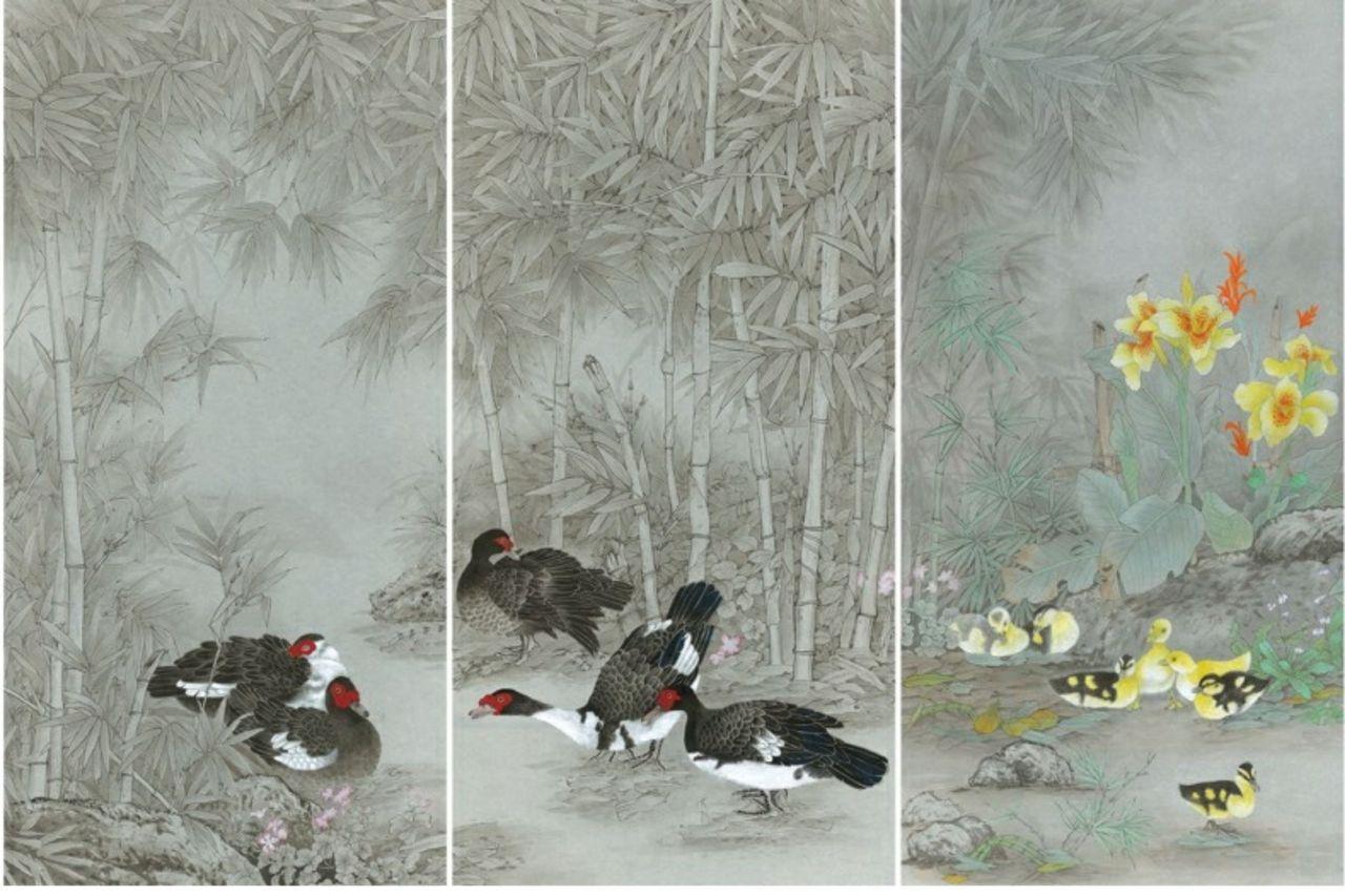 邱素美工筆畫作品《鄉間清趣》,第4-6張作品,單張尺寸136cmx68cm。 圖...