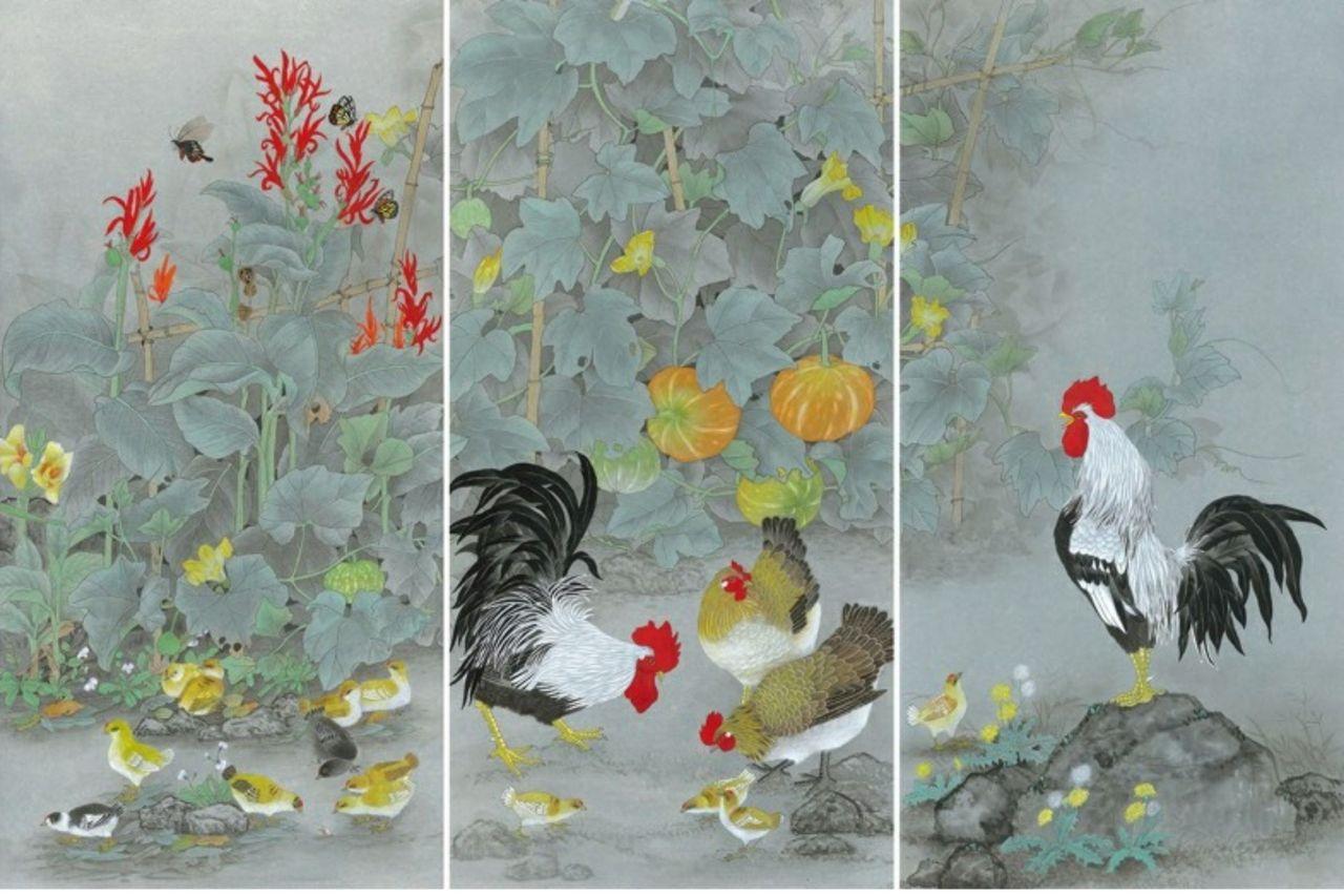 邱素美工筆畫作品《鄉間清趣》,第1-3張作品,單張尺寸136cmx68cm。 ...