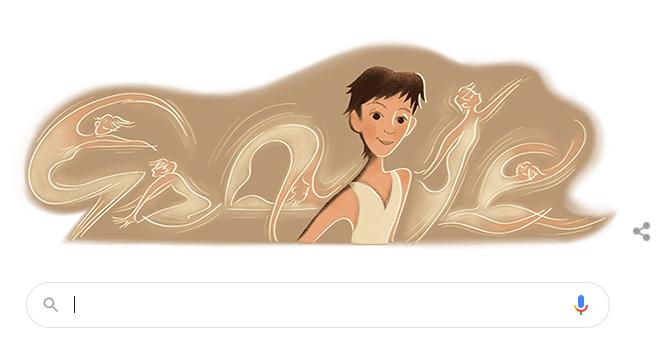 台灣傳奇舞蹈家羅曼菲66歲冥誕,Google特地在搜尋首頁放上她的圖像,為此致意。 圖/Google網頁截圖