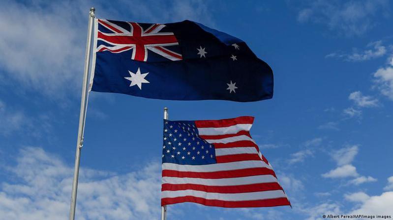 美、英、澳三國結成的新的印太安全聯盟AUKUS,名字是將三國名稱的縮略拼接在一起而成。圖/德國之聲中文網
