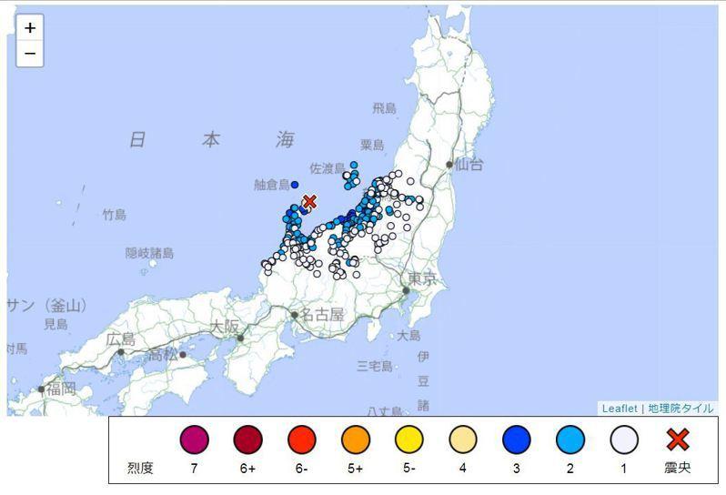 日本石川縣的能登半島當地時間16日晚間6時42分發生規模5.2地震。 圖/取自日本氣象廳
