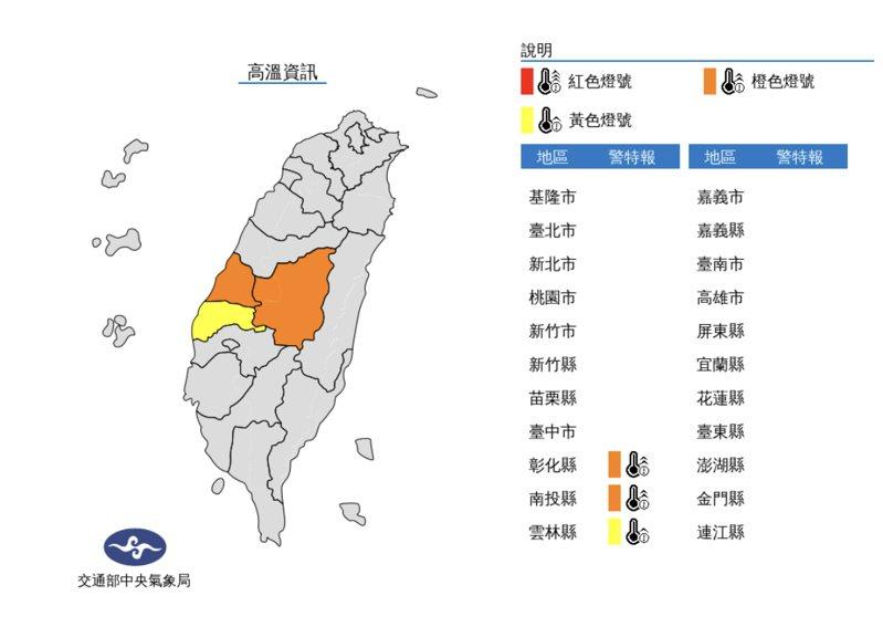 今(16)日中午前後彰化縣地區,南投縣近山區或河谷為橙色燈號,有連續出現36度高溫的機率。圖/氣象局提供