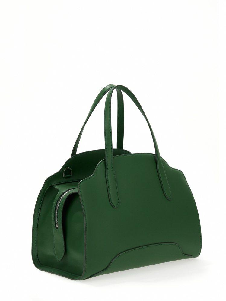 Sesia森林綠光滑小牛皮大型手提包,15萬6,000元。圖/Loro Pian...