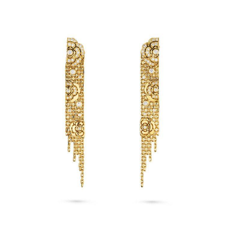 Impression de Camélia耳環,18K黃金鑲嵌鑽石,售價未定。圖...
