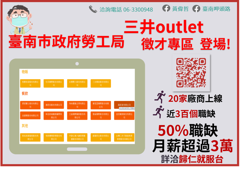 台南市勞工局三井outlet職缺專區今天上線,20家廠商提供近300個職缺。圖/勞工局提供