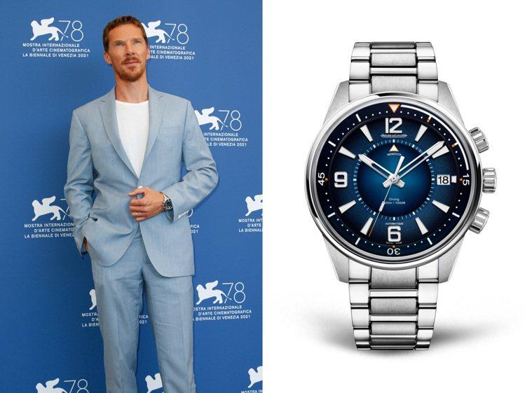 深藍色面盤、具備潛水與鬧鈴功能的Polaris Memovox腕表,正與Bene...