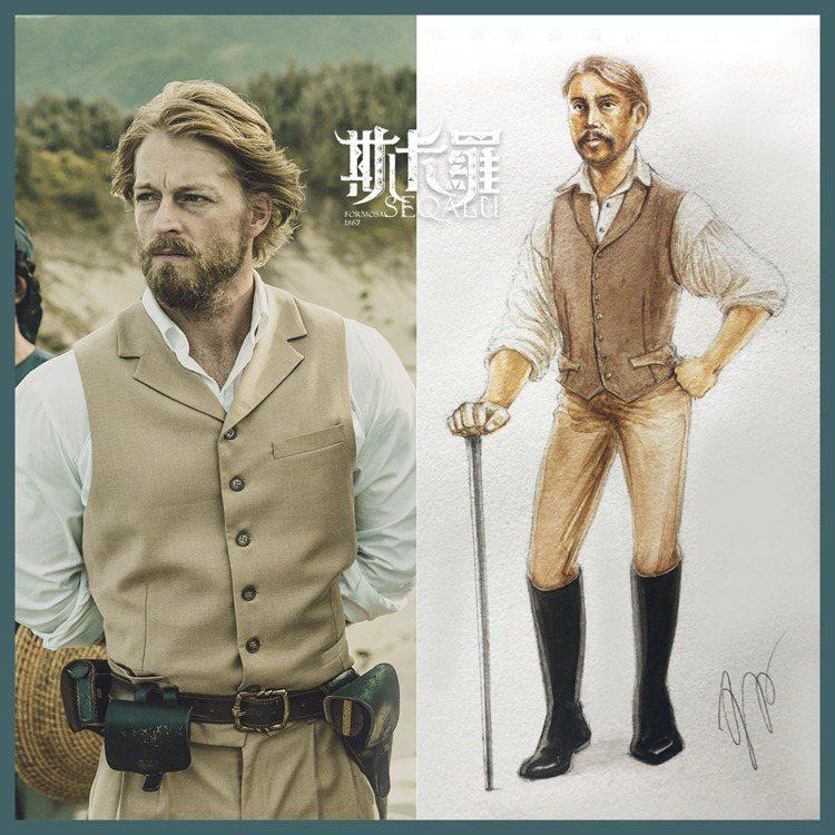 留著落腮鬍的李仙得,服裝部分依照19世紀男士特別追求精幹、威嚴俊挺的形象風格來設...