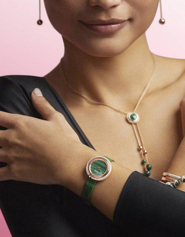 伯爵(PIAGET)Possession系列的玫瑰金孔雀石鑽石項鍊,可自行調整長...