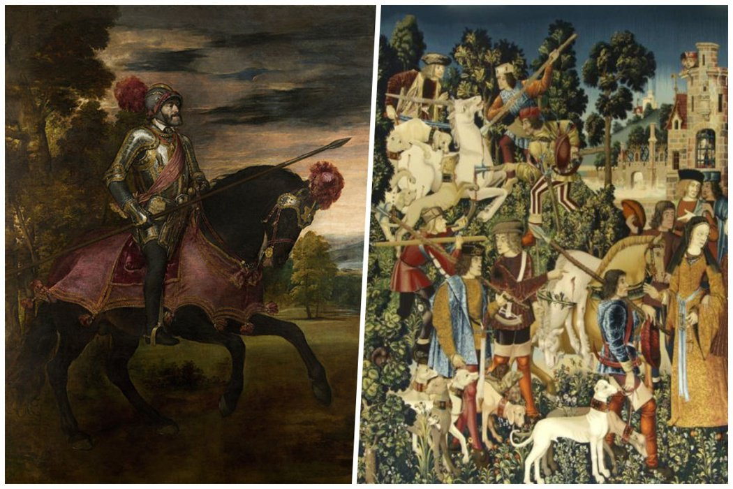 左為提香(Tiziano Vecelli, 1488-1576)繪製的皇帝查理五...