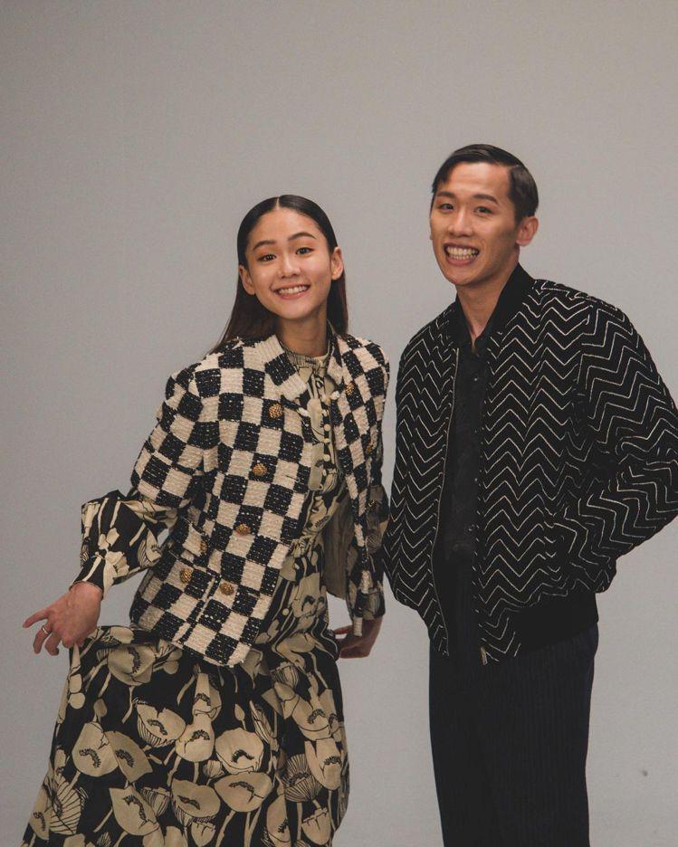 文姿云和鞍馬王子李智凱一起拍攝《ELLE》雜誌的花絮照。圖/取自IG