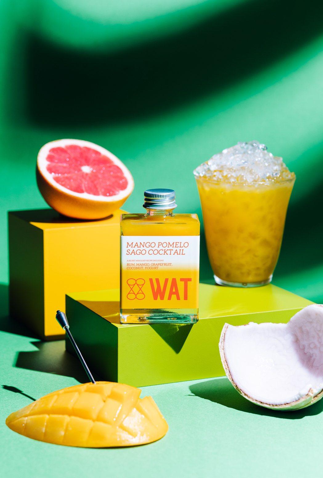 WAT全台門市同步推出翻轉經典港式甜點的「楊枝甘露雞尾酒」,將新鮮芒果及葡萄柚結...