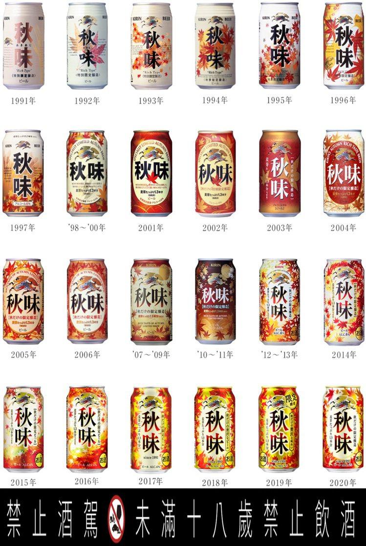 從1991年誕生的KIRIN「秋味」啤酒,30年來一共推出過24種不同瓶身設計。...