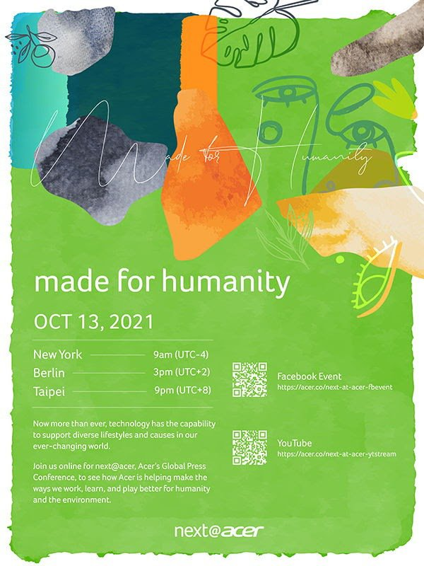 宏碁next@acer《Made for Humanity》全球發表會,將於台北...