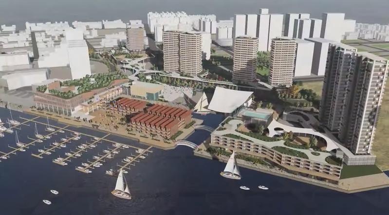 「安平港水岸複合觀光遊憩區」規畫結合海洋意象開發影城商場、文創小鎮、酒店式公寓等,打造完整濱海商業帶,期許未來成為全台最大水岸綜合度假城。記者鄭維真/翻攝