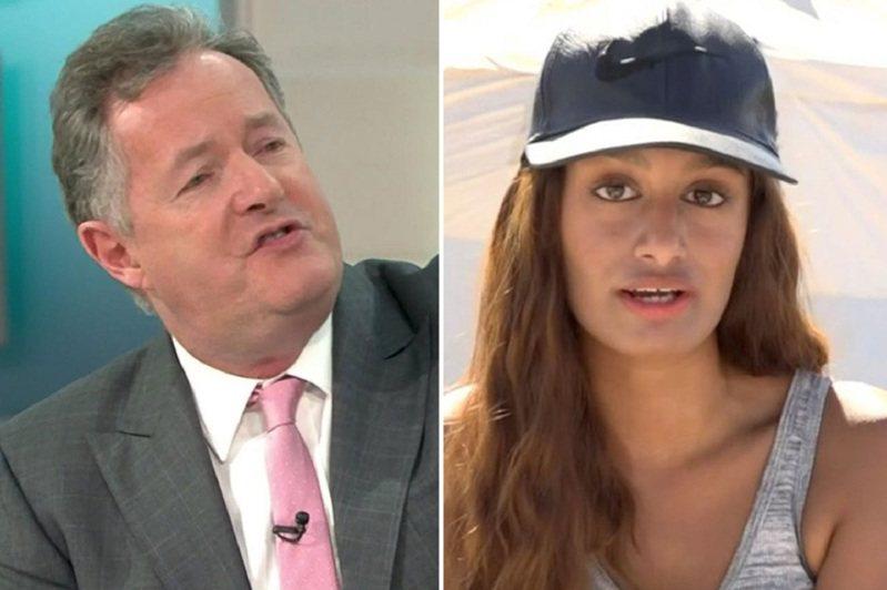 英國的「前IS少女新娘」貝岡(右)15日接受ITV的《早安英國》節目獨家連線訪問,懇求民眾能原諒她,節目前主持人兼名嘴摩根(左)放狠話,認為貝岡應被留在「她為自己打造的恐怖溫床上發爛」。畫面翻攝:The Sun