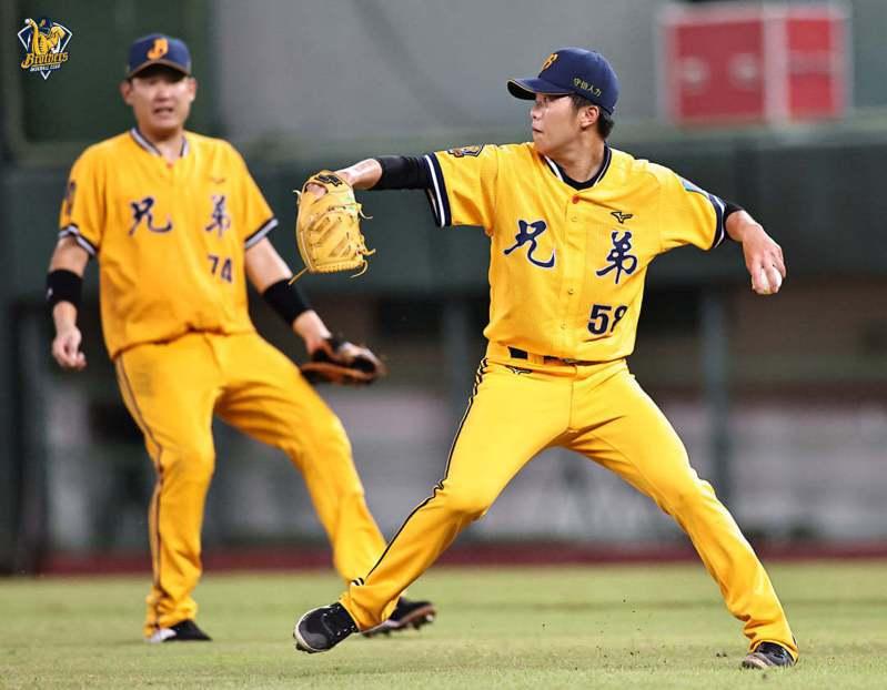 中信兄弟隊投手呂彥青昨天在5局下牽制二壘。圖/中信兄弟隊提供