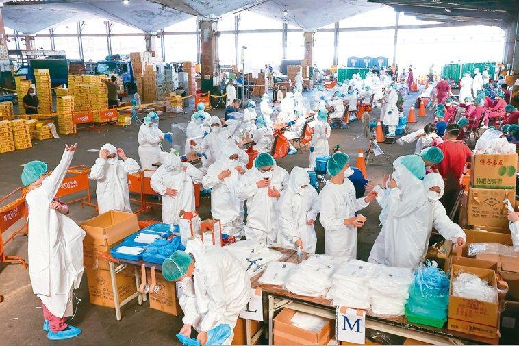 北農第一果菜市場分成10條動線同時篩檢,速度非常快。記者季相儒╱攝影
