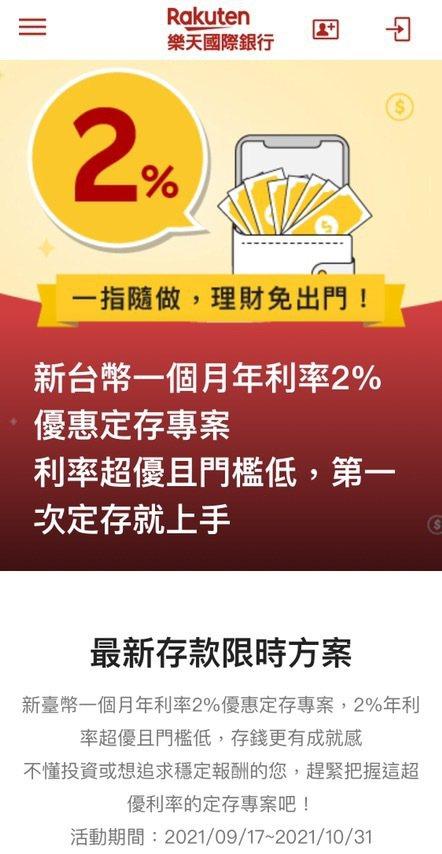 樂天國際銀行新台幣1個月定期存款優惠專案年利率為 2%,為一般1個月定期存款牌告...