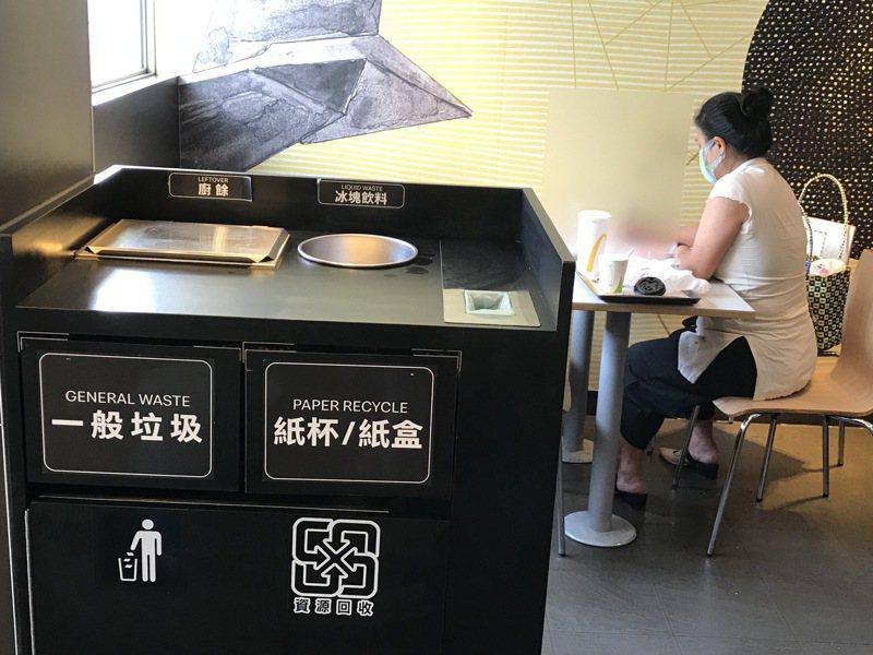 為徹底解決PLA和塑膠分不清,麥當勞已停用PLA(生質塑膠)材質容器,回收檯的「塑膠類」只剩一個寬約13公分的長方形投入口。記者吳淑君/攝影