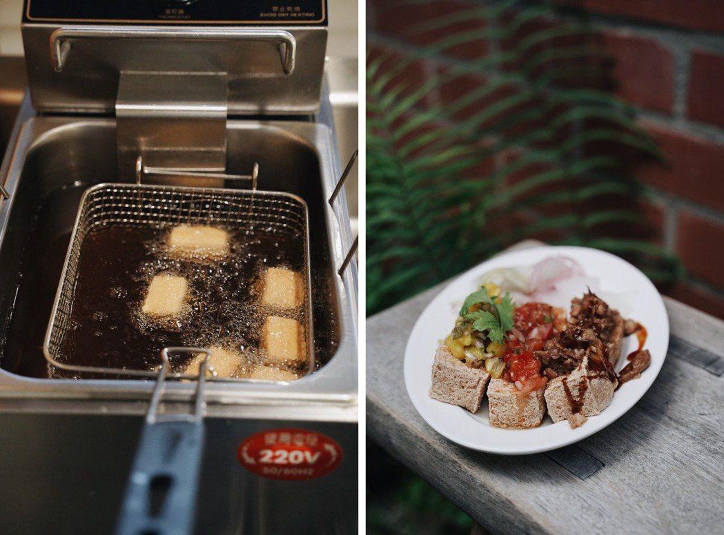 臭豆腐炸過之後溫潤噴香,擺上主廚特調醬料,十分涮嘴。(右圖:醬料由左而右為「醬鳳...