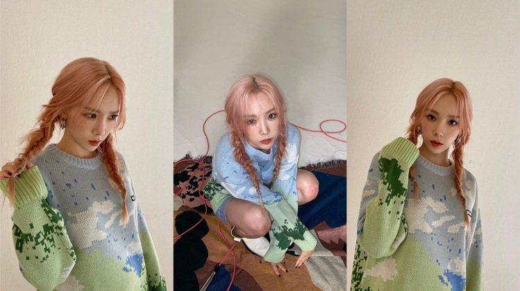 太妍身上穿了NERDY針織衫,售價121美元、約台幣3,386元;鞋款來自韓國平...