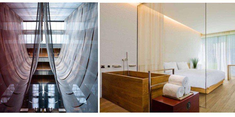 北京瑜舍的挑高餐廳、極簡客房。圖/取自(左)IG、(右)官網