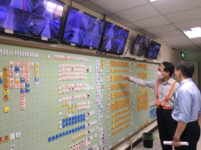 中秋台鐵局加開137列加班車,副局長七堵機務段視察調度。圖/台鐵局提供
