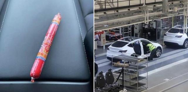 一名挪威車主在其交付的特斯拉Model Y車內發現中國品牌的火腿腸。(和訊汽車網)