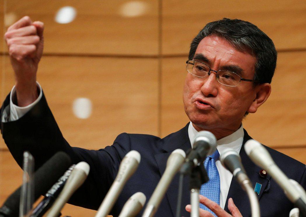 日本自民黨總裁候選人、行政改革擔當大臣河野太郎。路透
