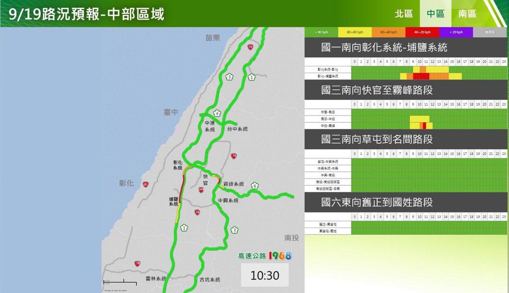 9月19日中部區域路況。圖/高公局提供