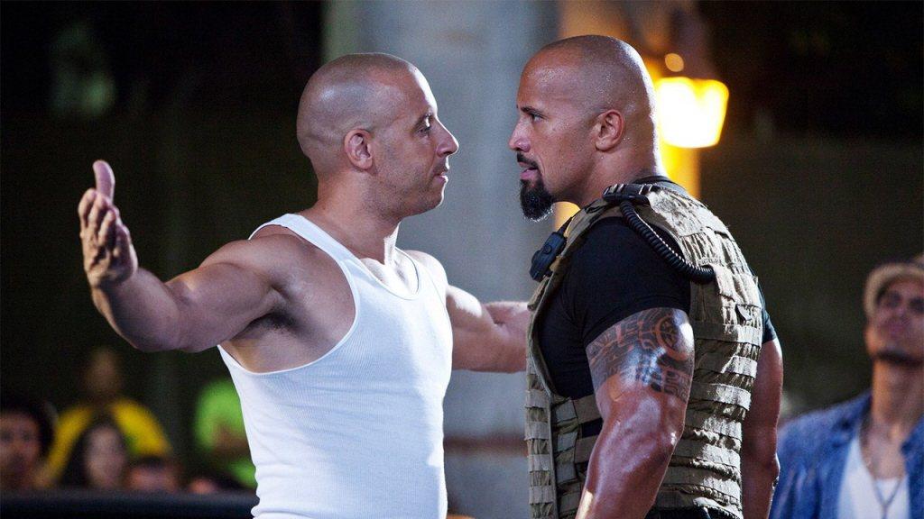 馮迪索(左)與巨石強森的緊張關係,沒有像「玩命關頭」系列劇情一樣好化解?圖/摘自...