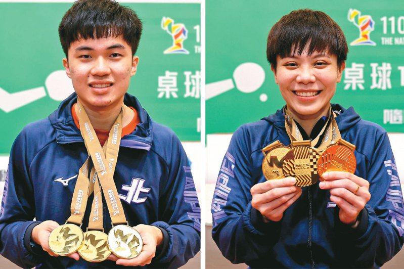 林昀儒(左)連兩屆全運會收下三金一銀,鄭怡靜(右)今年拿下三金一銅。圖/全運會提供