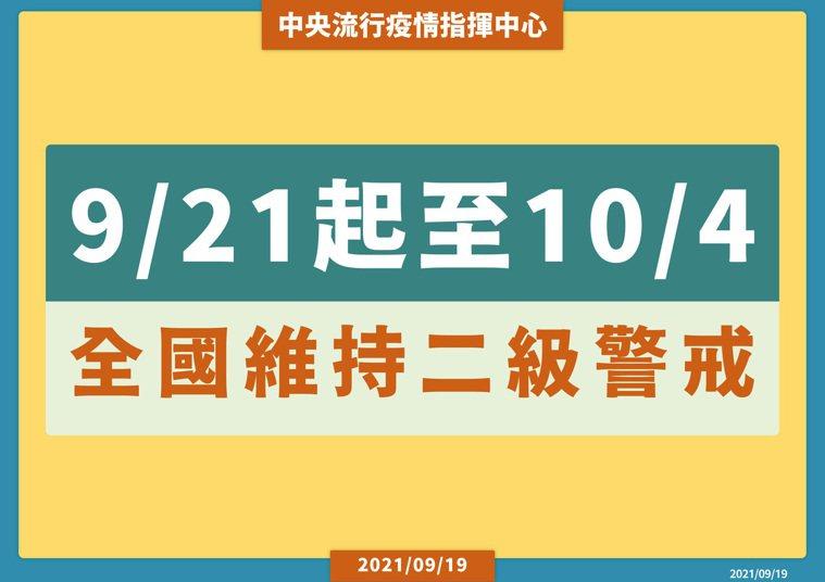 9月21日起到10月4日全國維持二級警戒,後續再看情況滾動式修訂。圖/指揮中心提...