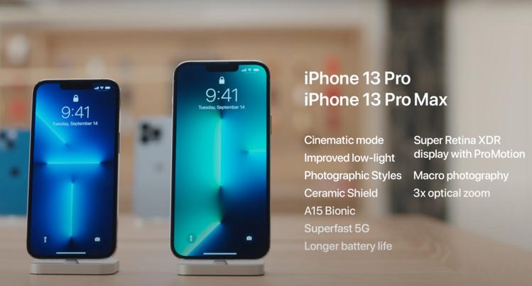 iPhone 13 Pro與iPhone 13 Pro Max的重點規格。圖/摘...