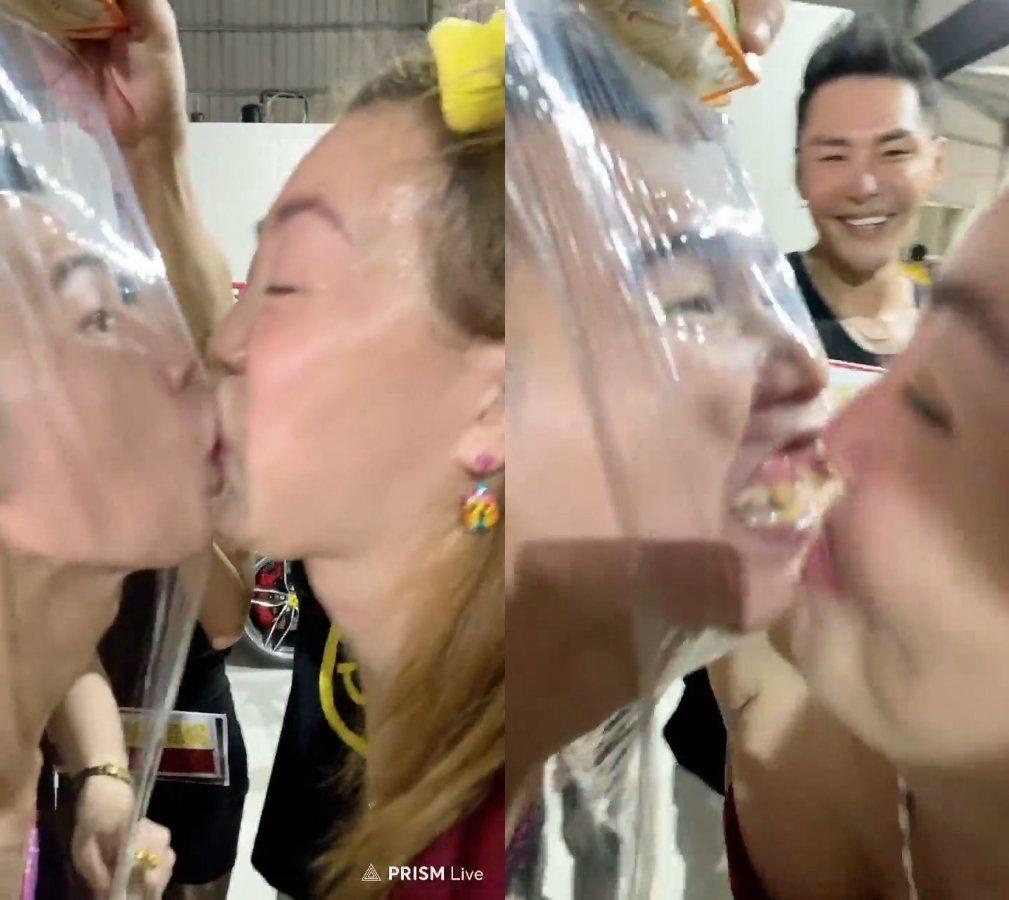 鄧佳華與法拉利姐上演安全之吻。 圖/擷自臉書