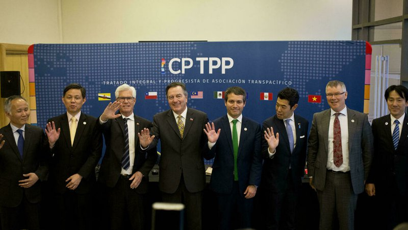 跨太平洋夥伴全面進步協定(CPTPP)示意圖。美聯社